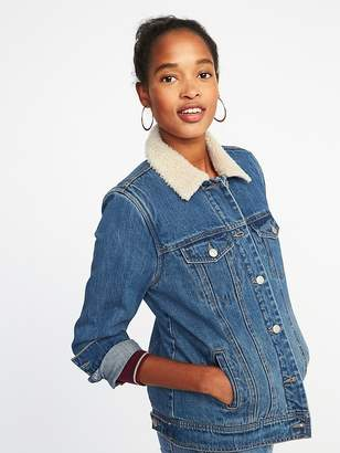 Old Navy Sherpa-Lined Denim Jacket for Women