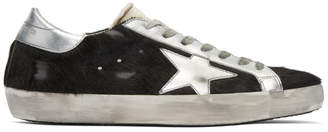 Golden Goose Black and Silver Horsy Superstar Sneakers