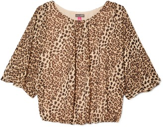 Animal-print Batwing-sleeve Blouse