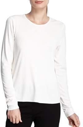 Eileen Fisher Women's Long Sleeve Stretch Silk Jersey Crew Neck Shirt