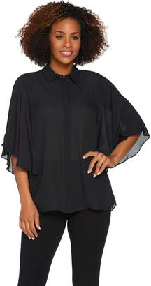 Joan Rivers Classics Collection Joan Rivers Silky Blouse with Flutter Sleeves