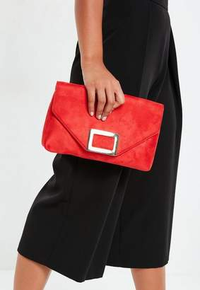 Missguided Red Suedette Square Buckle Clutch