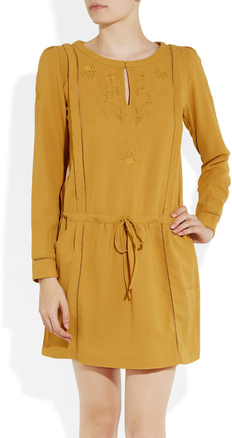 Paul & Joe Sister Amazonia embroidered crepe dress