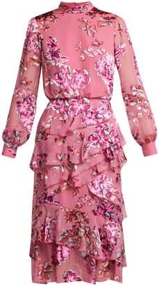 Saloni Isa Insignia floral devoré dress