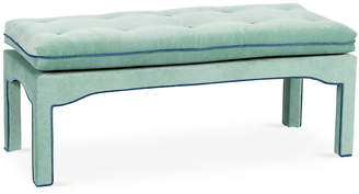 One Kings Lane Julien Tufted Bench - Pistachio Velvet