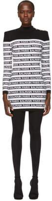 Balmain Black and White Logo Dress
