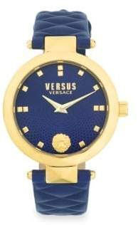 Versace Goldtone Stainless Steel Quilted Leather Strap Analog Watch