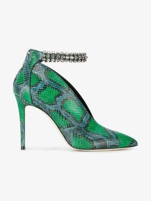 Jimmy Choo Green Lux 100 Snake Vamp Heels