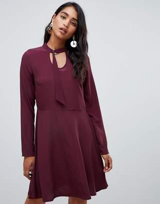 Vila long sleeve smock mini dress in burgundy