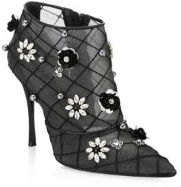 Roger Vivier Floral Point Toe Booties