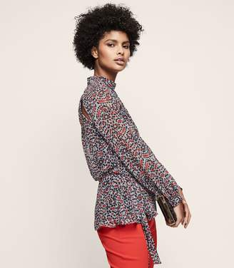 Reiss SABRI PRINTED LONG-SLEEVED BLOUSE Multi