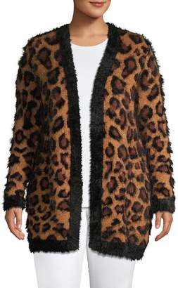 Lord & Taylor Plus Faux Leopard-Print Open-Front Knit Cardigan