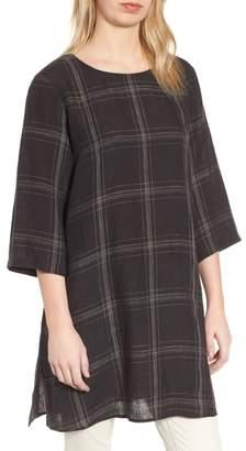 Eileen Fisher Plaid Organic Linen Tunic