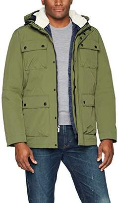 London Fog London by Men's Waxed 3-in-1 Parka with Sherpa Trim
