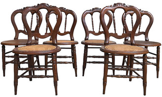 One Kings Lane Vintage Victorian Caned Chairs - Set of 6 - Tobe Reed