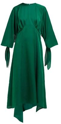 Petar Petrov Duran Asymmetric Draped Silk Blend Midi Dress - Womens - Green