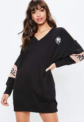 Missguided Barbie x Black V Neck Oversized Sweatshirt Dress