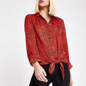 River Island Red leopard print tie front shirt