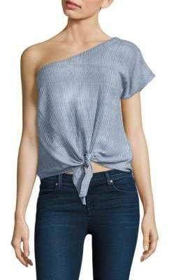 LoveShackFancy Tie Front One Shoulder Top