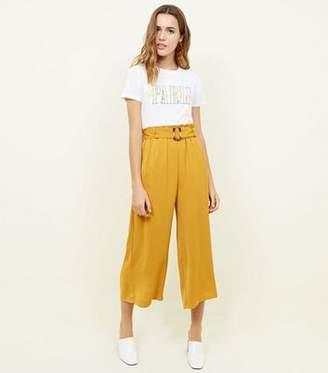 New Look Yellow Herringbone Buckle Detail Cropped Trousers