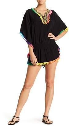 La Moda Rainbow Pompom Trimmed Tunic