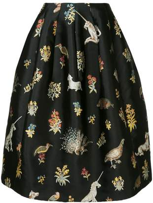 Oscar de la Renta Enchanted forest print skirt
