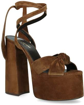 Saint Laurent Suede Paige Platform Sandals 85