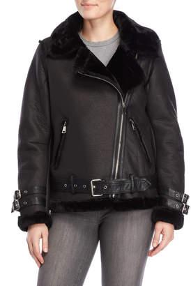 Love Token Belted Faux Fur Moto Jacket
