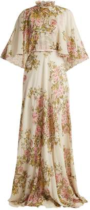 Giambattista Valli Rose-print high-neck tiered silk-georgette gown