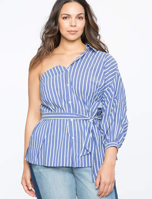 ELOQUII One Shoulder Puff Sleeve Button Down