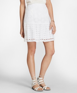 Brooks Brothers Cotton Eyelet Flounce Skirt