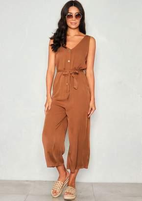 3f230efc488b Missy Empire Missyempire Sage Brown Button Culotte Jumpsuit