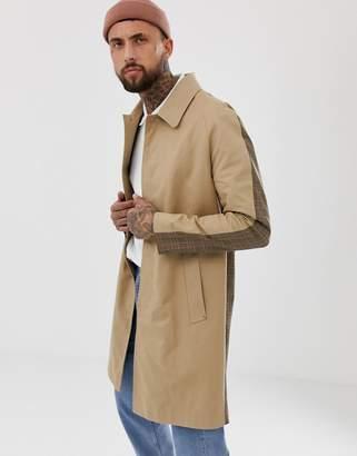 Mennace mac coat with check back print