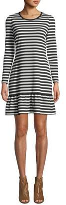 MICHAEL Michael Kors Striped Long-Sleeve A-Line Dress with Ruffle Hem