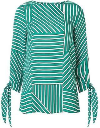 Dorothy Perkins Womens Green Geometric Stripe Tie Sleeve Top