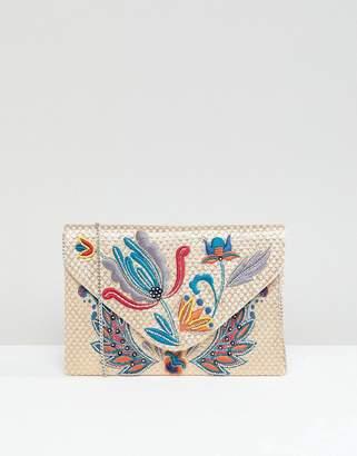 Park Lane Embroidered Clutch Bag With Optional Shoulder Strap