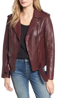 7 For All Mankind Leather Biker Jacket