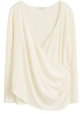 MANGO Violeta BY Ribbed wrap t-shirt
