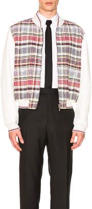 Thom Browne Zip Up Madras Varsity Jacket
