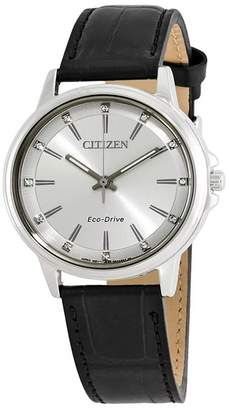 Citizen Women's Black Croco Embossed Leather Strap Watch, 37mm