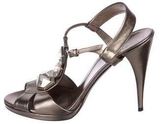 Gucci Embellished T-Strap Sandals