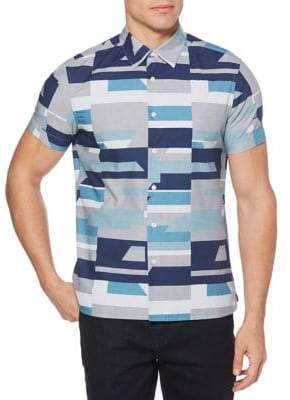 Perry Ellis Oversized Geo-Print Cotton Sport Shirt