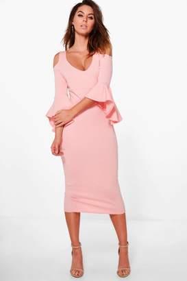 boohoo Tyra Open Shoulder Frill Midi Dress