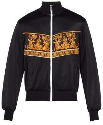 Versace Baroque Print Satin Bomber Jacket - Mens - Black