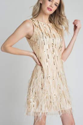 Minuet Feather & Sequin Dress