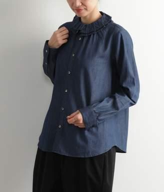 Super Hakka (スーパー ハッカ) - ライトオンスデニムフリルカラーシャツ(B・ネイビー)[SALE]