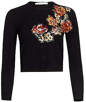 Oscar de la Renta Women's Multi-Floral Jacquard Wool Cardigan