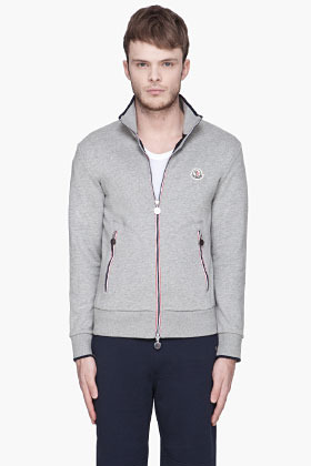 Moncler Heather grey signature striped Logo Zip Up sweater