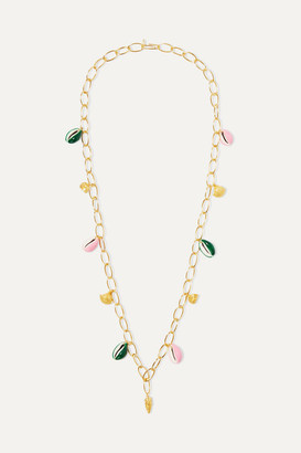 Aurelie Bidermann Panama Gold-plated, Shell And Enamel Necklace