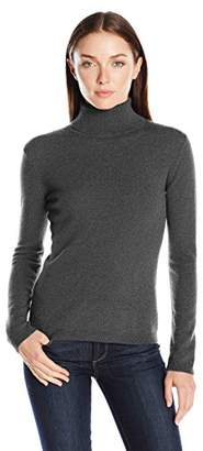 Lark & Ro Women's 100 Percent Cashmere 2 Ply Slim Fit Basic Turtleneck Sweater